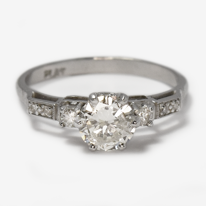 Vintage Platinum .95 carat Diamond engagement Ring with Step Down Shoulders