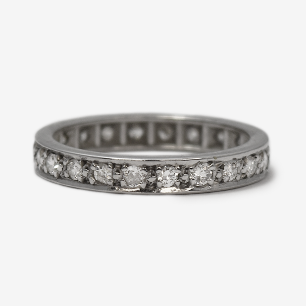 Vintage Full Set White Gold Diamond Eternity Ring