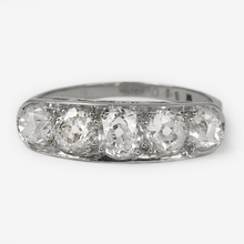 Art Deco Platinum Five Stone 1.80 Carats Old Cut Diamond Ring