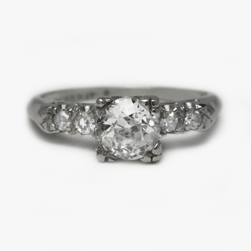 Art Deco Platinum Square Set .85 Carat Diamond Engagement Ring