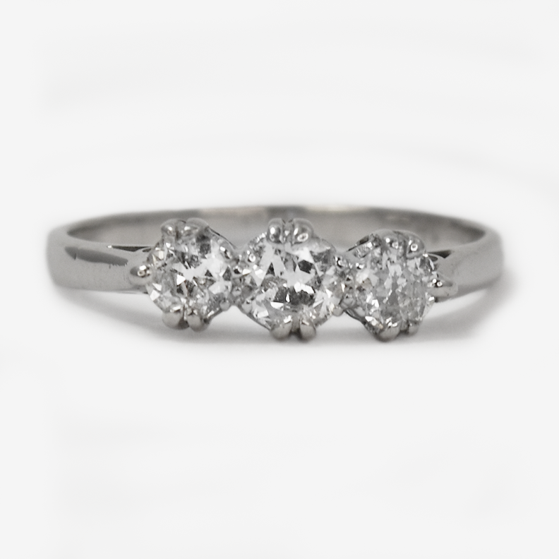Art Deco 1930's Three Stone Diamond Ring