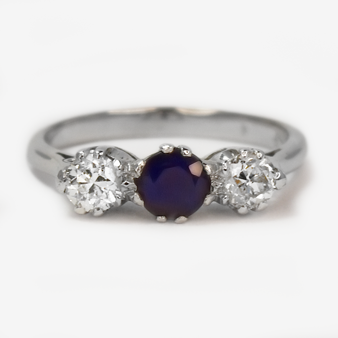 Art Deco  18ct white Gold Sapphire and Diamond Ring.
