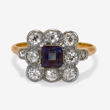 Yellow Gold Sapphire and Old Cut Diamond Cluster Ring
