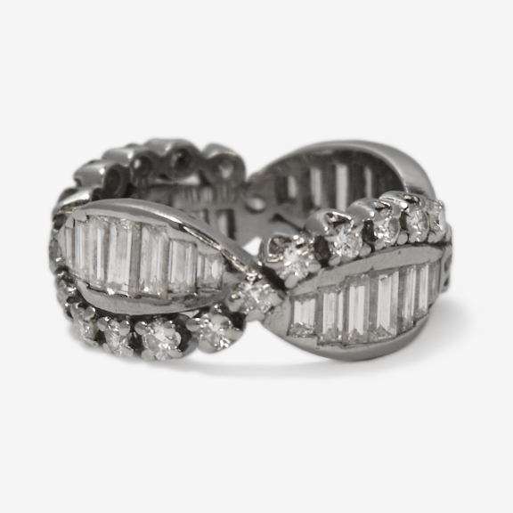 Vintage Platinum Baguette and Brilliant Cut  4 carat Diamond Eternity Ring.