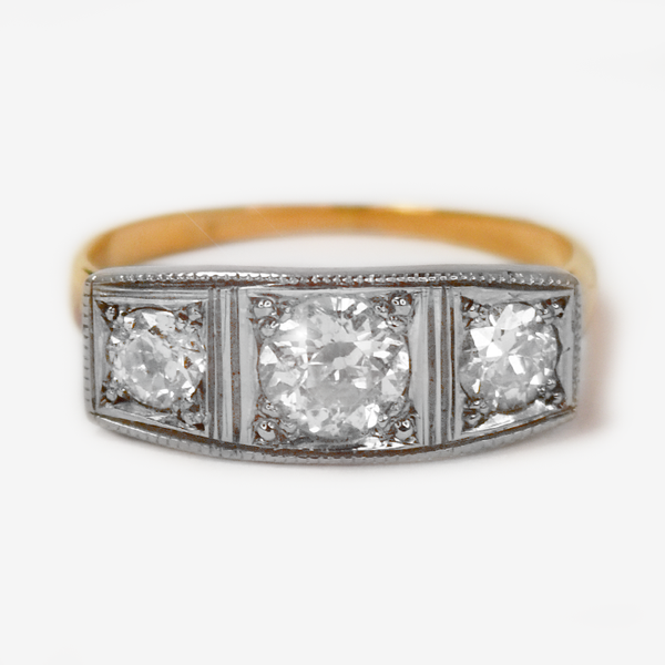 Art Deco 18ct Yellow Gold Trilogy .70 Carats Diamond Ring