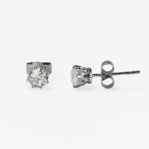 Art Deco Old Cut Diamond .90 carats 18ct white gold Stud Earrings