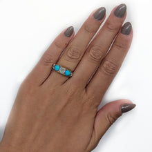 Victorian Diamond and Turquoise Five Stone Ring