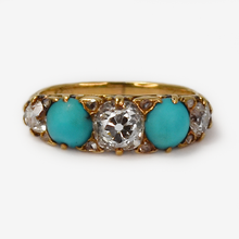 Victorian 18ct Yellow Gold  Diamond and Turquoise Five Stone Ring