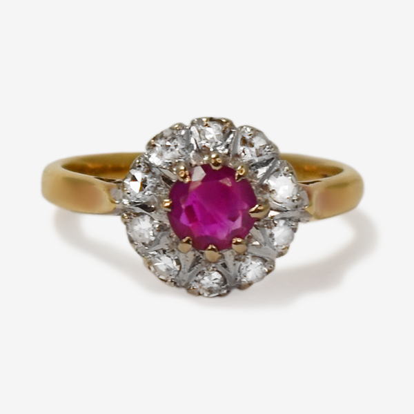 Ruby and Diamond Vintage Cluster Ring