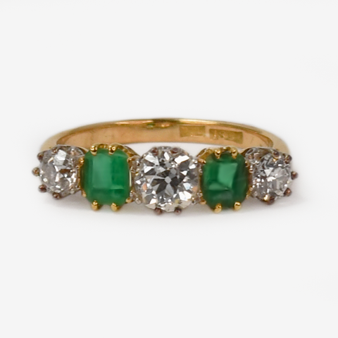 Art Deco 18ct yellow gold Emerald and Diamond Five Stone Ring