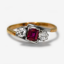 1930's Ruby and Diamond Three Stone Cross Over Ring