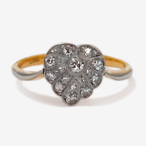 Art Deco 18ct Yellow gold Platinum set Diamond .45 Carat Heart Cluster Ring