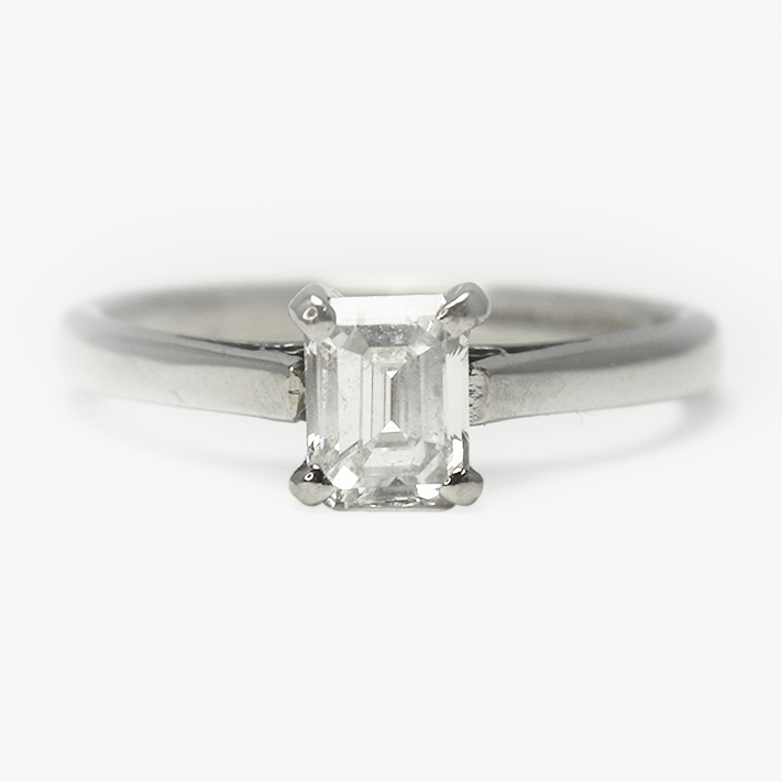Vintage Platinum Emerald Cut .55 Carat Diamond Engagement Ring