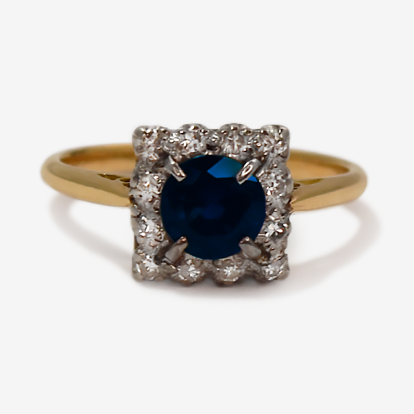 Vintage Sapphire and Diamond Cluster Ring