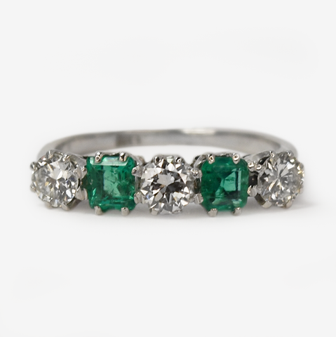 Vintage 18ct White Gold Emerald and Diamond Five Stone Ring
