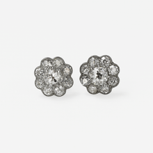 1930's Diamond Daisy Cluster Earrings