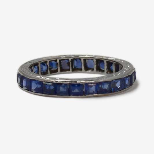 Art Deco Platinum Square Cut Sapphire Eternity Ring