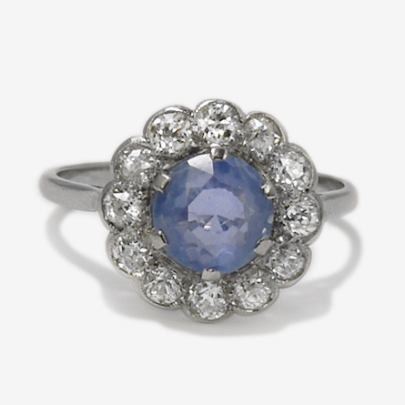 Art deco Platinum Cornflower Blue Sapphire and Diamond Cluster Ring