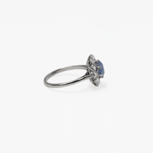 Cornflower Blue Sapphire and Diamond Cluster Ring