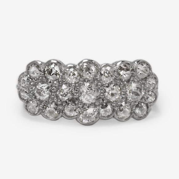 Triple Diamond Daisy Cluster Ring