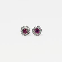 Diamond and Ruby Cluster Earrings