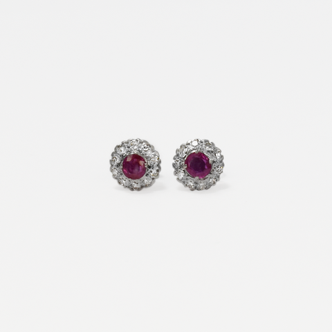 Vintage 18ct White gold Diamond and Ruby Cluster Earrings
