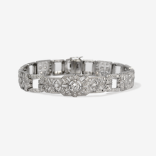 Art Deco Platinum 4 Carat Diamond Panel Bracelet