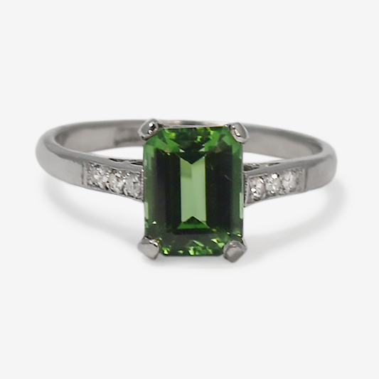 Art Deco 18ct White Gold Tourmaline and Diamond Ring