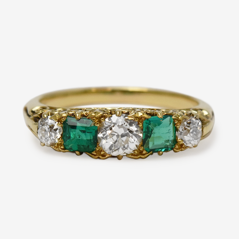 Victorian 18ct Yellow Gold Emerald and Diamond Ring