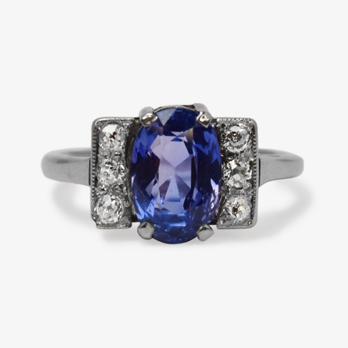 Art Deco Purple Sapphire and Diamond Ring