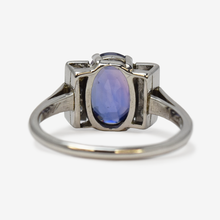 Art Deco  18ct White Gold Purple Sapphire and Diamond Ring