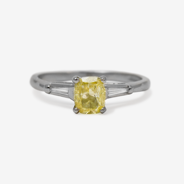 Art Deco Yellow Diamond Solitaire Ring