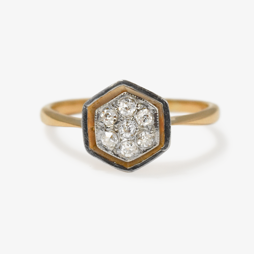 Diamond Daisy Cluster Hexagon Ring