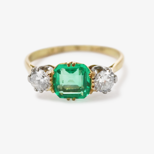Emerald and Diamond Three Stone Ring