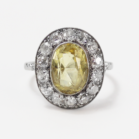 Art Deco Yellow Sapphire and Diamond Cluster