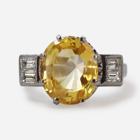 Art Deco Yellow Sapphire & Baguette Diamond Ring