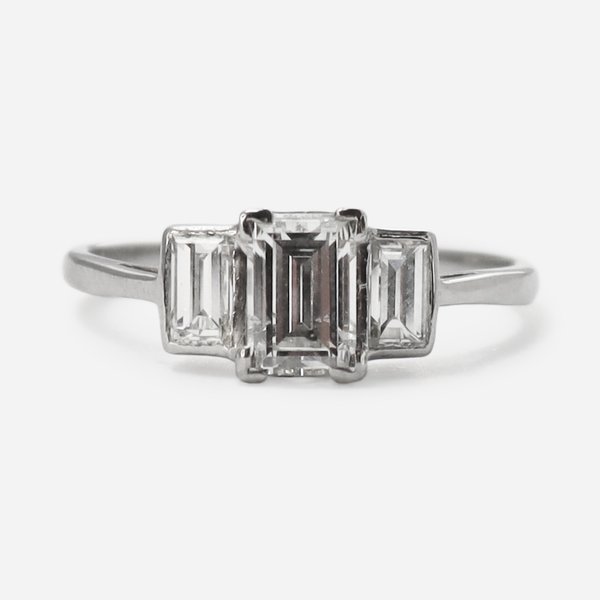 Art Deco Emerald Cut Three Stone Diamond Ring