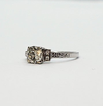 Art Deco 1 Carat Diamond Solitaire Engagement Ring