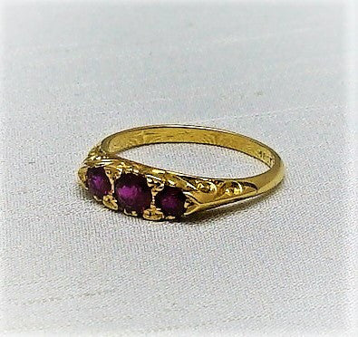 Art Deco 1930's Yellow Gold Three Stone Ruby Ring