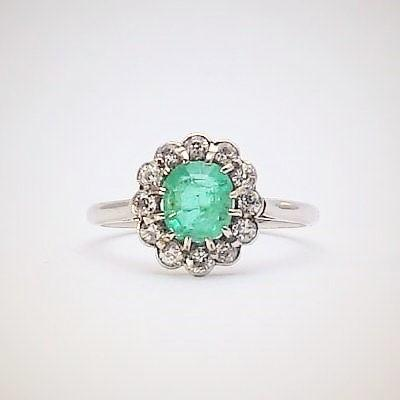 Emerald and Diamond Art Deco Cluster Ring