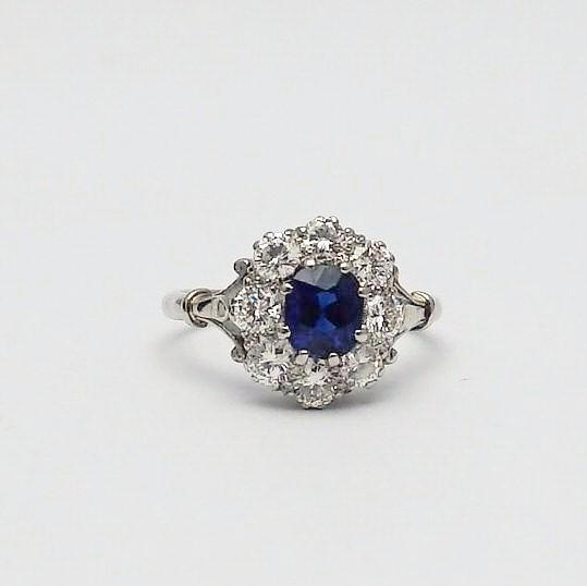 Sapphire and Diamond Platinum Cluster Ring