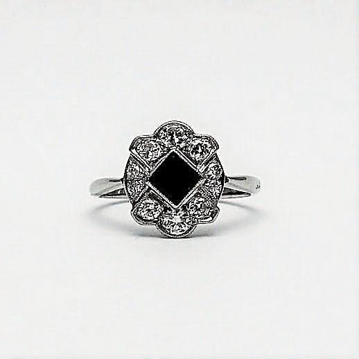 Platinum Art Deco Sapphire and Diamond Cluster Ring
