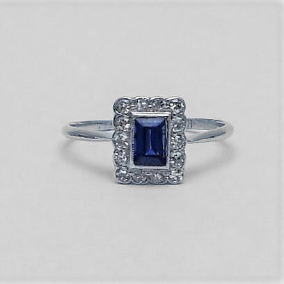 White Gold Sapphire and Diamond Cluster Ring