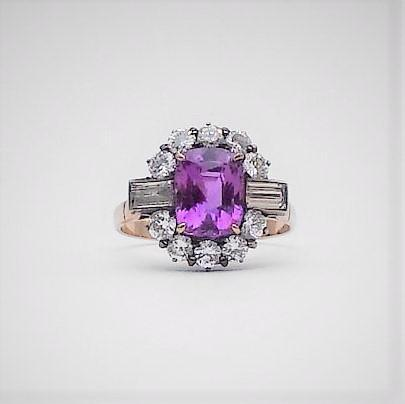 Pink Sapphire and Diamond Cluster Ring