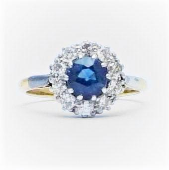 Sapphire and Diamond Cluster Gold Ring