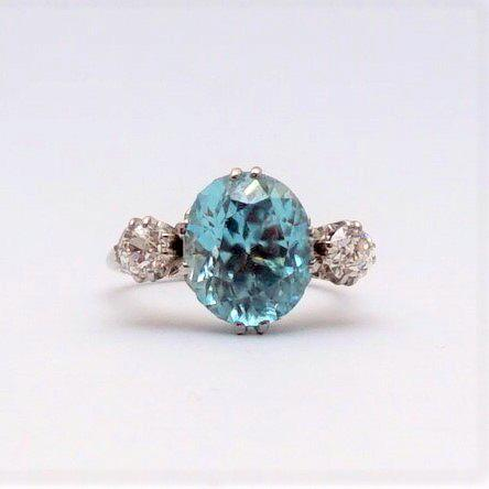 Art Deco Zircon and Diamond Three Stone Ring