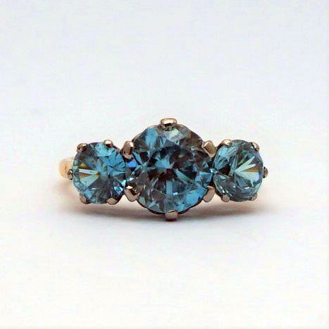 Three Stone Art Deco 1930 Blue Zircon Ring