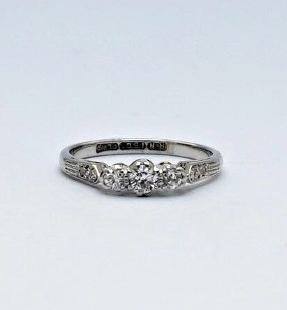 White Gold Three Stone Diamond Ring