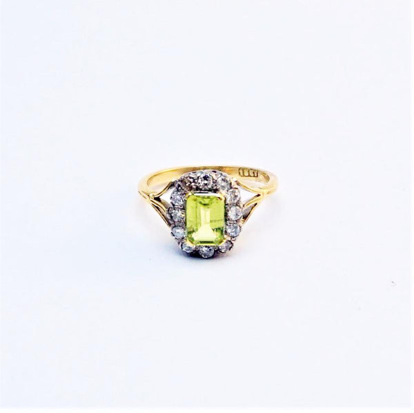 Vintage Peridot and Diamond Cluster Ring