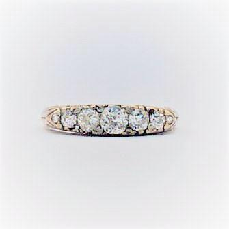 Victorian Five Stone Yellow Gold Diamond Engagement Ring